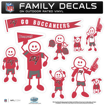 Tampa Bay Buccaneers Family Decal Set, NFL Licensed Team Stickers