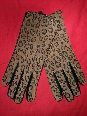 F & F Leather Gloves M/L Leopard Print