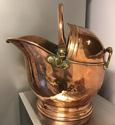 VICTORIAN large Copper & Brass Coal Scuttle HELMET SHAPED POLISHED OOZING CHARM