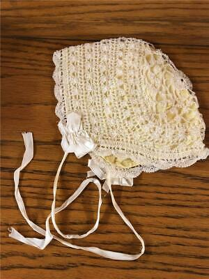 Antique Hand Crocheted Lace Yellow Satin lined Victorian Baby Bonnet night cap