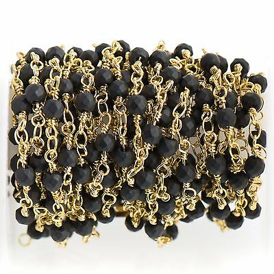3ft BLACK Stone Rosary Chain, bright gold double wrap, 4mm matte round fch0706a