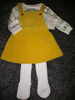 Baby Girls bundle of  pinafore dress,top &  tights  NEWBORN BNWT 9.9lb rrp £18