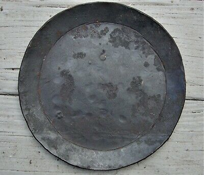 Antique Primitive Forged Wrought Hammered Blackened Iron Rush Light Candle Plate