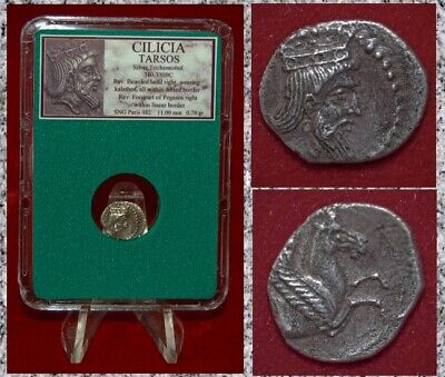 Ancient Greek Coin CILICIA TARSOS Pegasos RARE MUSEUM QUALITY Silver Coin!