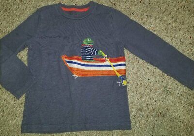 MINI BODEN Blue Frog in Rowboat Long Sleeved Top Boys Size 4-5