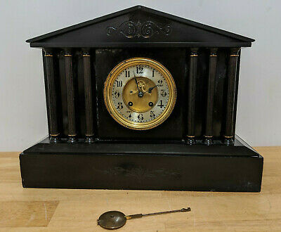 Antique Victorian Slate & Bronze Large Mantel Clock With Pendulum Mantle