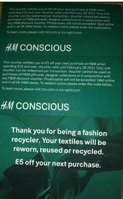 H&M 2 x £5.00 Off Voucher Discount Code £10 Off In Total (Online and In-store)