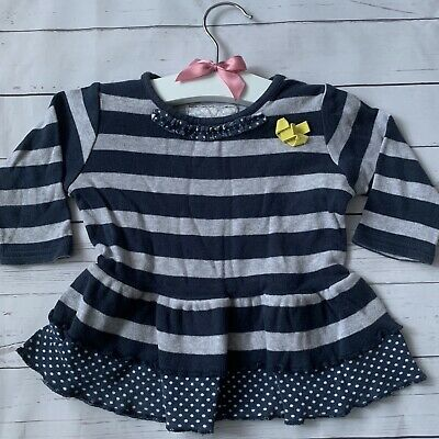Baby Girls 3-6 Months - T-shirt Dress NEXT Grey Navy Stripe Long Sleeved Ruffle