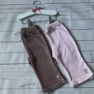 Baby Girls 6-9 Months - Trouser Set x 2 NEXT Pink Brown Velour Tracksuit Bottoms