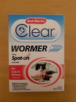 Bob Martin clear wormer 20 mg spot on for cats & kittens 4 tubes
