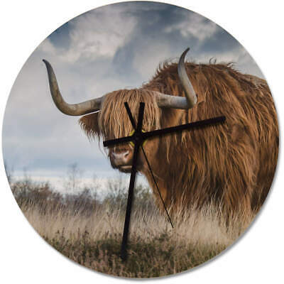 275mm 'Highland Cow' Large Wooden Clock (CK00012042)