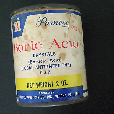 "VINTAGE OLD 2 OZ. PAMECO BORIC ACID CANISTER 2"" diameter x 2-1/2"" high"