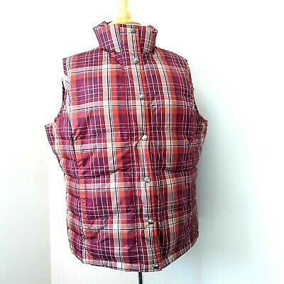 LANDS END Womens Down Puffer Vest Sz Large 14-16 Red Plaid Quilted