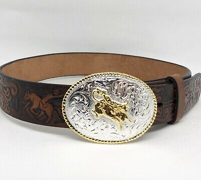 Youth Western 3D Tooled Brown Leather Belt Bull Rider Buckle Size 22 Boys Cowboy