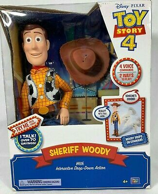 Disney Pixar Toy Story 4 Talking Sheriff Woody Interactive Drop Down Action