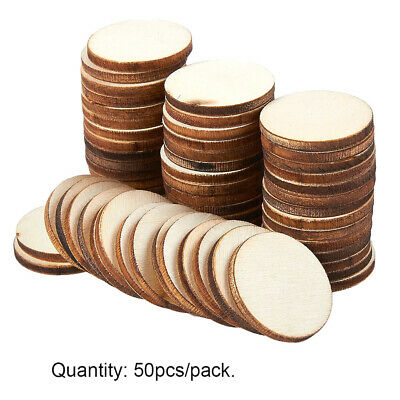 50pcs Natural Blank Round Wood Pieces Unfinished Wooden Discs for Decoration