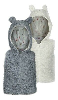 Minoti Girls Faux Fur Gilet - Ivory & Silver - Ages 6/12/18/24 Months - 2/3 Yrs
