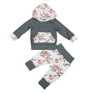 UK Newborn Baby Boys Girls Hoodie T-shirt Tops Pants Outfits Toddler Clothes Set