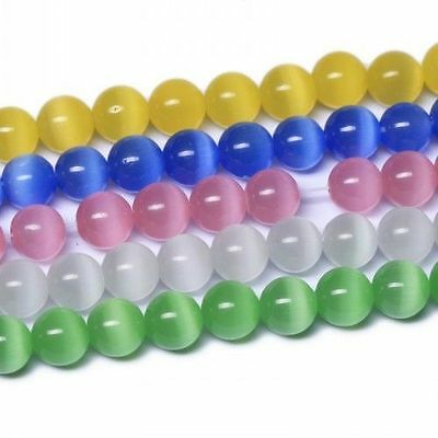 100PCS Round Acrylic Cat's Eye Opal Spacer Loose Beads For Jewelry Making 8mm