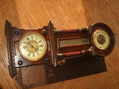 Old Clock Parts Barometer Thermometer Combo For Restoration
