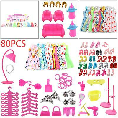 Shoes and jewellery Clothes Accessories 80pcs/Set for Barbie Doll Dresses