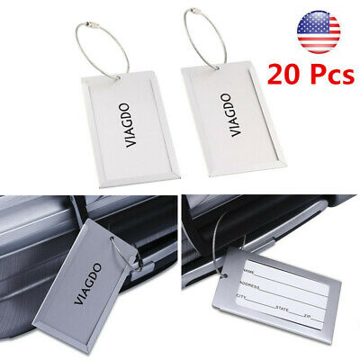 20x Travel Aluminium Luggage Tags Suitcase Label Name Address ID Baggage Tag