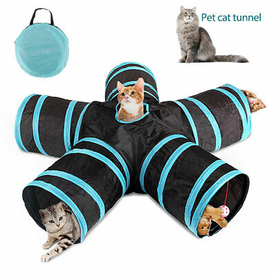 5 WAY Pet Cat Dog Kitten Puppy Tunnel Toy Foldable Exercise Tunnel Funny Play