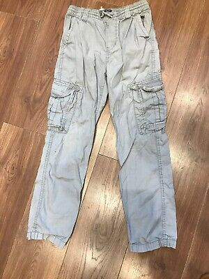 Boys Grey Cargo Trousers Age 12 Years GAP 25 Leg 26 Waist With Stretch