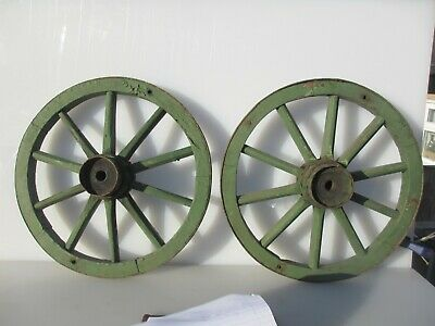 "Antique Wooden Wagon Wheels Cart Wheels Vintage French Farm Carriage Old 16.5""W"