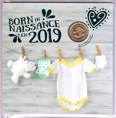 BORN IN, NAISSANCE EN 2019 Canada Baby Gift Coin Set Special Baby Shoes $1