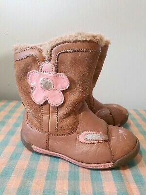 Clarks Girls Rabbit Boots Size UK 6 G Real Leather And Suede