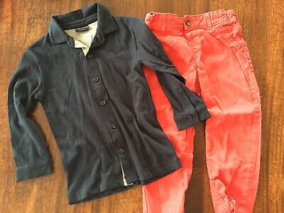 NEXT Boys Navy Blue Shirt & Red M&S Chinos 2-3 Years Set Outfit