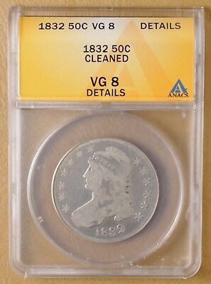 1832 Capped Bust Half Dollar ANACS VG 8 Details