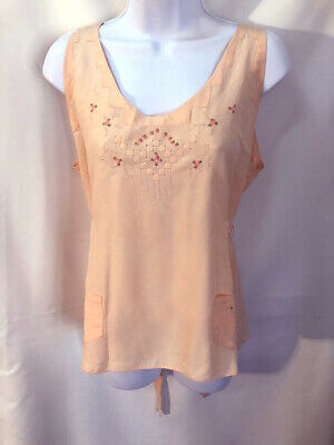 VTG Lovely French Delicate Pink Peach silk embroidered 30s/40s camisole blouse M