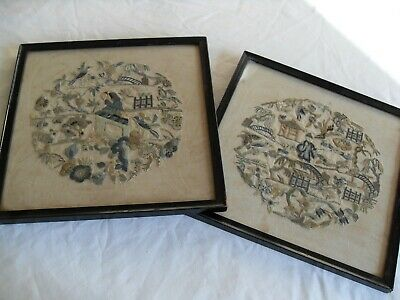 2 CHINESE EMBROIDERED SILK PICTURES LATE 19th/EARLY 20th C?
