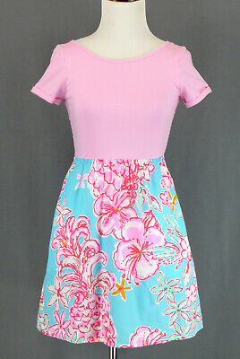 322 Lilly Pulitzer girl pink & blue dress short sleeve floral EUC Size XL(12-14)