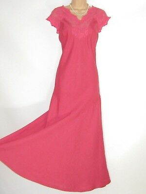 Laura Ashley Vintage Coral Pink Full-Length Party Cocktail Linen Lace Dress,14