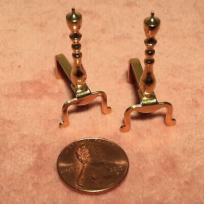 Dollhouse Miniature Andirons Brass Plated #AN7  Handcrafted Rooster Design