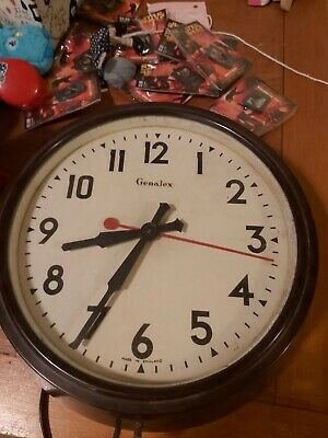 Genelex  Vintage Bakelite  Electric Wall Clock School Clock Factory Clock