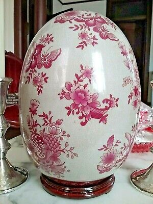 """Large Vintage Chinese Style Porcelain Egg with Butterflies on Pedestal 10"""""""