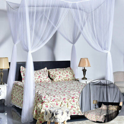 Bed Canopy Mosquito Net Large King Queen Full Bed 4Corner Curtain Insect Protect
