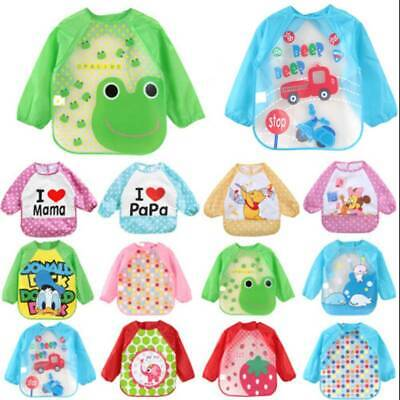 Baby Toddler Kid Feeding Bibs Long Sleeve Plastic Burp Apron Smock Cartoon Print