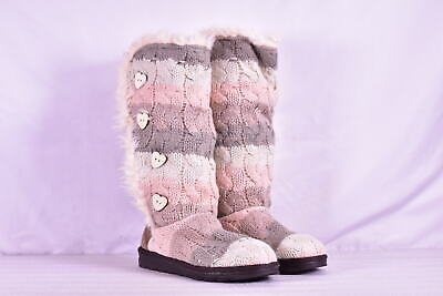 Women's Muk Luks Tall Knit Slipper Boots, White / Pink / Grey, 9M
