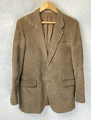 "St Michael M&S Mens Cord Corduroy Blazer Jacket Brown Vintage Retro 40"" 102 cm"