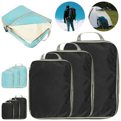 3x Packing Cubes Travel Pouches Luggage Organiser Clothes Suitcase Storage Bag@