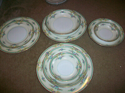 Lot of 9 Noritake Plaza Dishes Dinner Plates Soup Bowl Berry Dessert Bowls