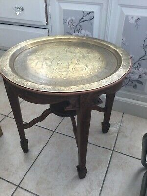 "Antique Oriental / Chinese Round Teak Table Stand With Brass Tray Top 18"" High"
