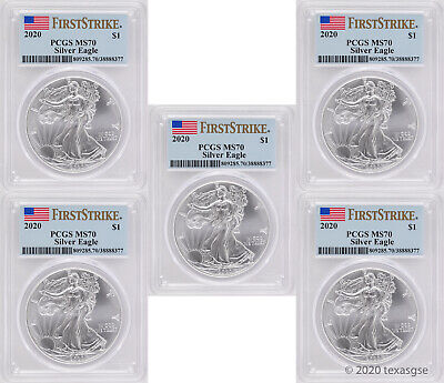 2020 $1 American Silver Eagle PCGS MS70 FS - Lot of 5 - IN STOCK - READY TO SHIP