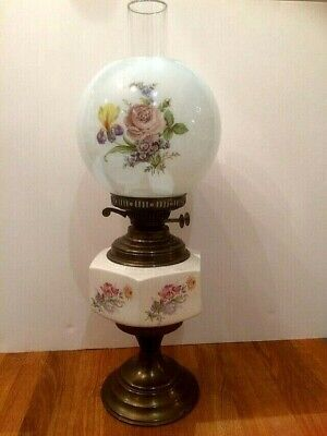 Vintage Brass & Ceramic Oil Lamp With Glass Chimney & Globe Floral Shade