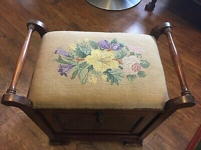 Antique Music Stool / Piano Stool With Storage